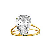 QP Jewellers 5.0ct White Topaz Pear Drop Ring in 14K Gold