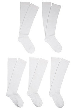 F&F 5 Pair Pack of Knee High Socks - White
