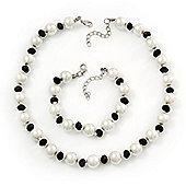 White/Black Glass Pearl Necklace & Bracelet Set In Silver Plating - 38cm Length/ 4cm Extension