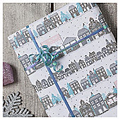 Tesco Glittered House Scene Christmas Wrapping Paper, 3m