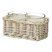 Parlane Set of 2 Candles In Wicker Basket H80mm