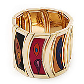 Wide Geometric Pattern Stretch Bracelet In Goldtone Metal - Up to 19cm Length