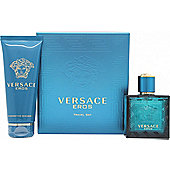 Versace Eros Gift Set 50ml EDT + 100ml Shower Gel For Men