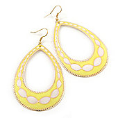 Long Lightweight Neon Yellow/ White Enamel Oval Hoop Earrings In Gold Plating - 85mm Drop