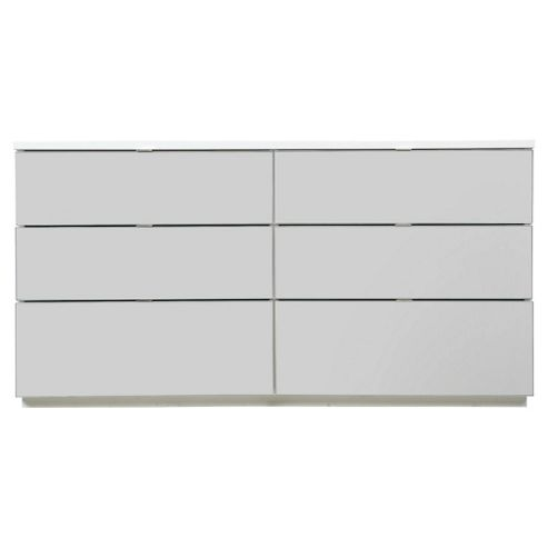 Palermo 6 Drawer Wide Chest, White Mirrored