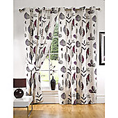 KLiving Floral Riva Aubergine Lined Eyelet curtains 90x54 Inches