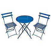 Bentley Garden 3 Piece Metal Garden Patio Furniture Bistro Set Table & 2 Chairs Blue