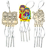 Nativity Printed Wooden Windchimes for Children to Make Decorate (Pack of 4)