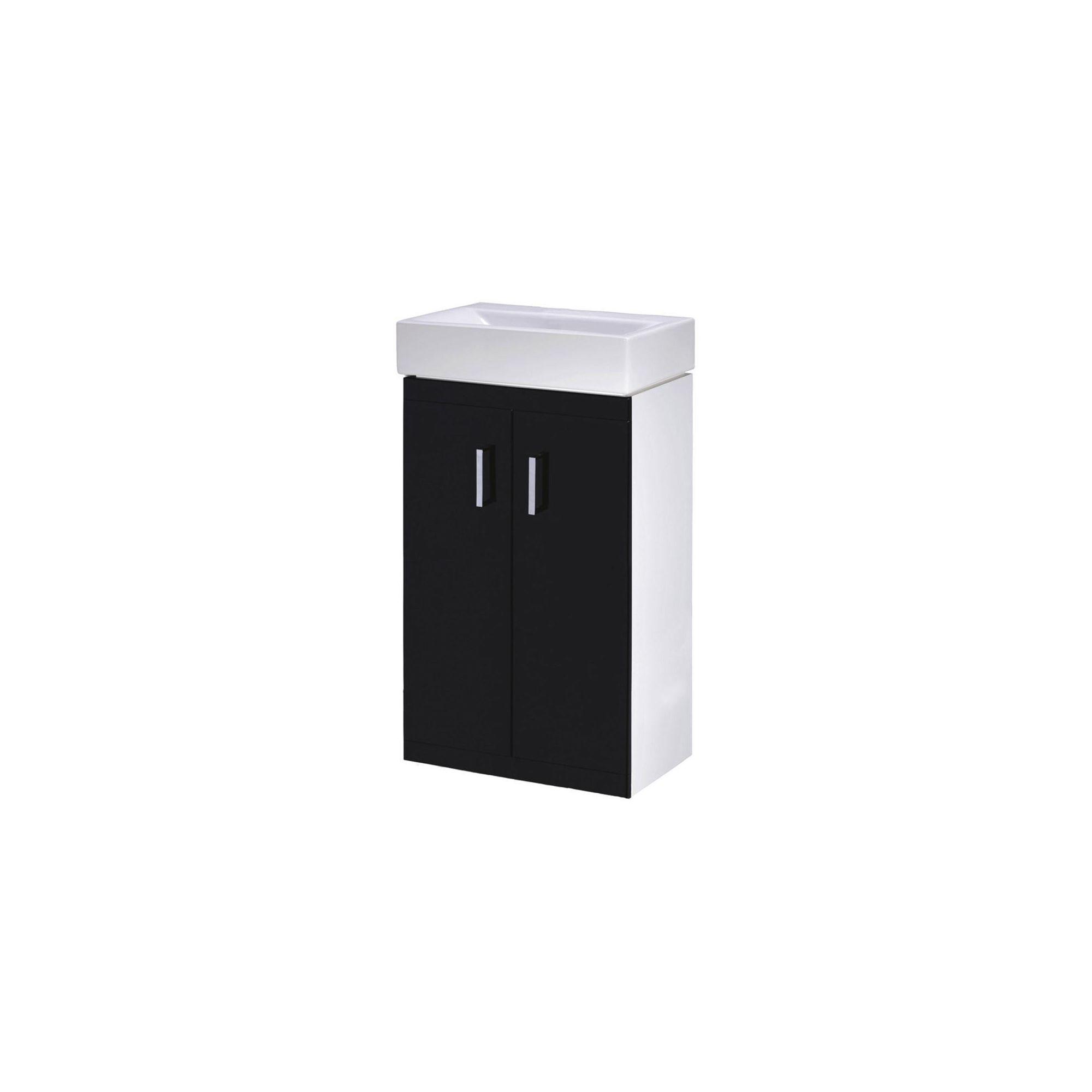 Premier Checkers Floor Standing Basin Vanity Unit Black and White 450mm Deep