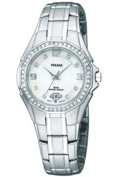 Pulsar Ladies Stone Set Bezel MOP Stone Dial Watch PXT797X1