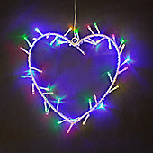 Silver Metal Heart Wreath with Multi Coloured LED Fairy Lights