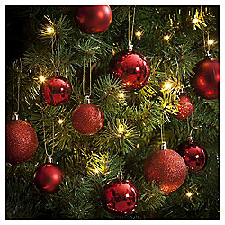 Christmas Baubles, Red, 40 pack