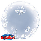"Deco Roses & Butterflies Valentines Balloon - 24"" Bubble (each)"