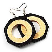 Two-Tone Octagonal Wood Drop Earrings (Dark Brown&Cream)