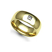 Jewelco London 18ct Yellow Gold 8mm Court Diamond set 10pts Solitaire Wedding / Commitment Ring
