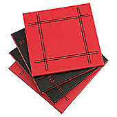 Set of 4 Faux Leather Black & Red Reversible Coasters
