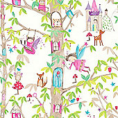 Woodland Fairies Glitter Wallpaper - White - Arthouse 667001