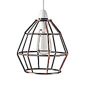 Modern Angus Open Cage Ceiling Light Pendant Shade in Brushed Copper