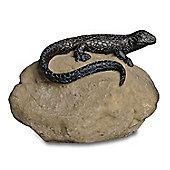 Sitting Lizard On A Rock Resin Garden Ornament