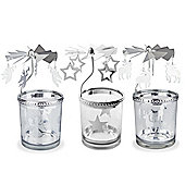 Star, Reindeer & Angel Carousel Glass Christmas Tea Light Candle Holder Decorations
