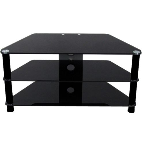 Buy 3 Shelf TV Stand With Black Glass And Black Legs From