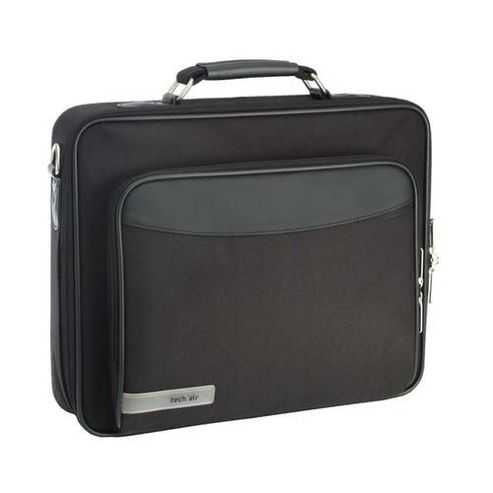 Techair Z Series Z0101 Classic Clam Briefcase (Black) for 15.4 Laptops