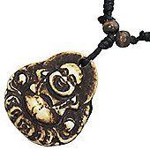 Urban Male Adjustable Black Necklace with Bone Buddha Pendant
