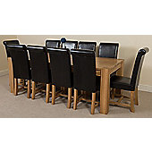 Kuba Chunky Solid Oak 220 cm with 10 Black Washington Chairs