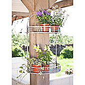 Scrolled 2 tiered Wall Planter Grey - set of 2
