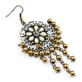 Floral Bead Drop Earrings (Bronze & White Tone) - 9cm Drop