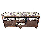 Geko Products Wood Storage Accent Bench with 2 Drawers & 2 Baskets