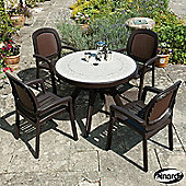 Nardi Toscana Round 4 Seater Dining Set - Coffee