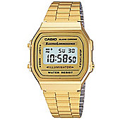 Casio Classic Unisex Gold Ion-plated Chronograph, Alarm Watch A168WG-9EF