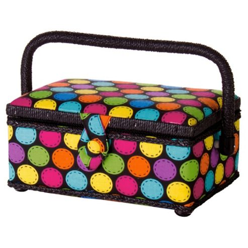 Korbond Sewing Box, Bright Colourful Dots