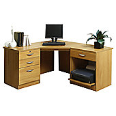Enduro Home Office Desk / Workstation with Pedestal and Printer Storage - Beech