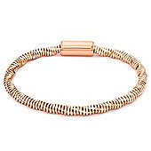 Jewelco London Rose Coated Sterling Silver Diamond-Cut Twist Popcorn Bracelet