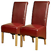 Pair of PU Leather High Scroll Back Chairs in Red