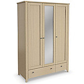 Urbane Designs Barnes Bedroom 3 Door 1 Mirror + 2 Drawer Wardrobe