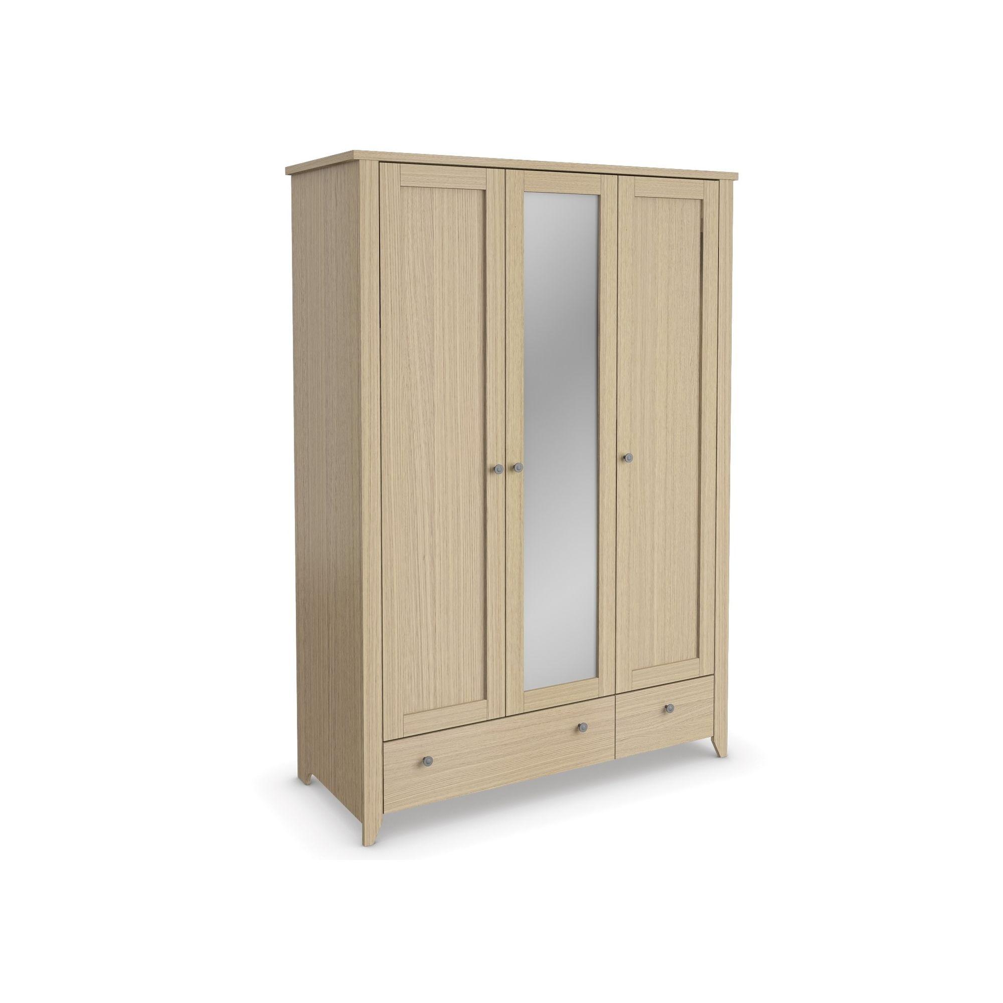 Urbane Designs Light Oak Bedroom 3 Door 1 Mirror + 2 Drawer Wardrobe at Tesco Direct