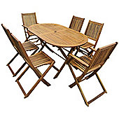 Bentley Garden Oval Wooden Garden Patio Furniture Set Table 6 Chairs
