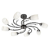 Decorative Black Chrome Eight Arm Ceiling Light with Opal Glass Shades