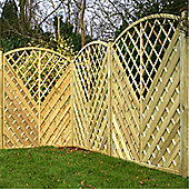 6FT Pressure Treated Curved Chevron Weave + Trellis Panels - 1 Panel Only 6'