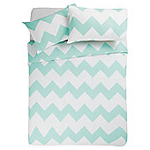 Tesco Basic Chevron Print Duvet Set Double Spearmint