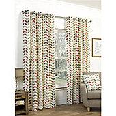 Tiga Eyelet Curtains 117 x 183cm - Mocha & Orange