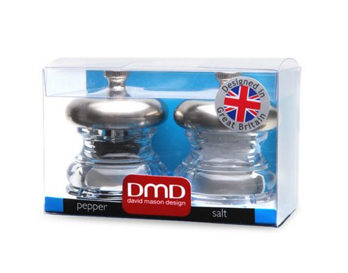 David Mason Design Alpha 6.3cm Salt and Pepper Mill Set - Clear and Stainless Steel