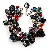 Multicoloured Pearl Bead & Shell Charm Bracelet (Silver Tone)