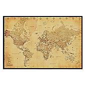 Gloss Black Framed Vintage Style World Map Poster