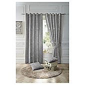 Nostalgia Lined Eyelet Curtains - Charcoal