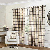 Plaid Check Eyelet Curtains, Cream 229x183cm