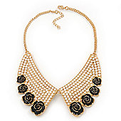 Black Enamel Rose Peter Pan Pearl Collar Necklace In Gold Plating - 38cm Length/ 6cm Extension